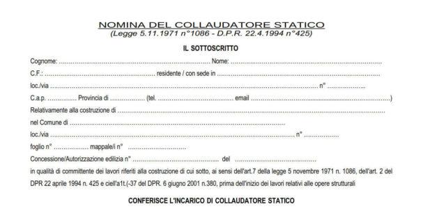 Modello - Nomina e Accettazione Collaudatore Statico